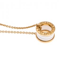 Bvlgari B.Zero1 White Ceramic 18K Rose Gold Pendant Necklace
