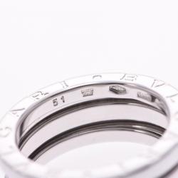 Bvlgari B-Zero1 3 Band 18K White Gold Band Ring Size 51