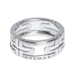 Bvlgari Parentesi 18K White Gold Band Ring Size 55