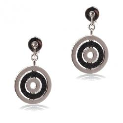 Bvlgari Black Ceramic 18 K White Gold Cerchi Earrings
