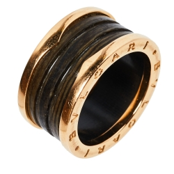 """خاتم بلغاري """"بي.زيرو1"""" 4 حلقات ذهب وردي عيار 18 و رخام بني مقاس 59"""