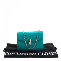 Bvlgari Green Leather Small Serpenti Forever Shoulder Bag