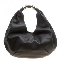 Bvlgari Black Leather Hobo