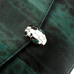 Bvlgari Green Lizard Large Serpenti Forever Shoulder Bag