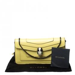 Bvlgari Yellow Leather Serpenti Forever Flap Shoulder Bag
