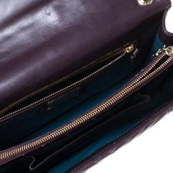 Bvlgari Dark Purple Quilted Scaglie Leather Medium Serpenti Forever Shoulder Bag