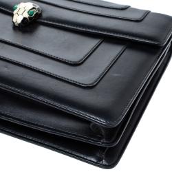Bvlgari Black Leather Serpenti Forever Shoulder Bag