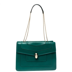 Bvlgari Green Leather  Serpenti Forever Double Flap Shoulder Bag