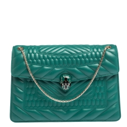 Bvlgari Green Quilted Scaglie Leather Medium Serpenti Forever Shoulder Bag