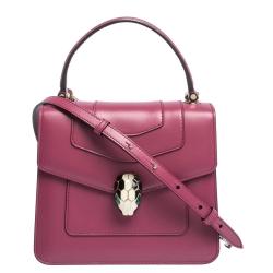 Bvlgari Magenta Leather Serpenti Forever Flap Top Handle Bag