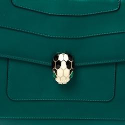 Bvlgari Green Leather Large Serpenti Forever Shoulder Bag