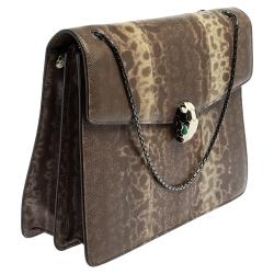 Bvlgari Grey Karung Large Serpenti Forever Shoulder Bag