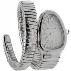 Bvlgari White Steel Serpenti Tubogas Women'S Watch 35MM
