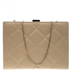 d6bb1da98600 Carolina Herrera Beige Quilted Leather Frame Shoulder Bag