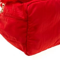 Carolina Herrera Red Nylon Bucket Shoulder Bag
