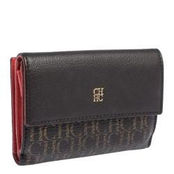Carolina Herrera Dark Brown Monogram Coated Canvas and Leather Flap Compact Wallet