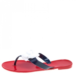 d31bf628516 Carolina Herrera Tri Color Rubber Flower Embellished Flat Thong Sandals Size  40