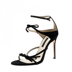 2112916ee2693 Carolina Herrera Black Suede Bow Detail Strappy Open Toe Sandals Size 38
