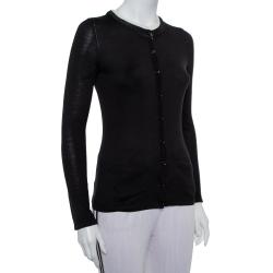 Carolina Herrera Black Knit Contrast Neck Detail Button Front Cardigan XS