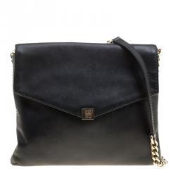 72f6bb0caf Carolina Herrera Black Leather Envelope Shoulder Bag