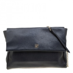 Carolina Herrera Navy Blue Leather Flap Shoulder Bag 63fa7291315c7