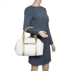 Carolina Herrera White/Gold Leather Boston Bag