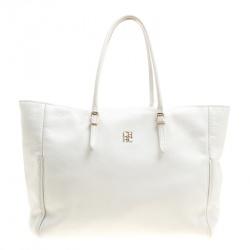 17e0ccbf72 Carolina Herrera White Leather Shopper Tote