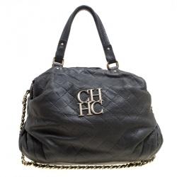 6b246ca40b Carolina Herrera Black Quilted Leather Top Handle Bag