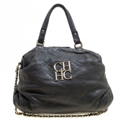 Carolina Herrera Black Quilted Leather Top Handle Bag