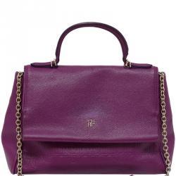 Carolina Herrera Purple Leather Minuetto Flap Bag 080bc17225180