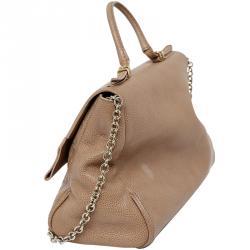 Carolina Herrera Beige Leather Minuetto Flap Bag eb549d0822eb0