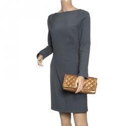 Carolina Herrera Gold Quilted Leather Clutch 0521e7c67a362