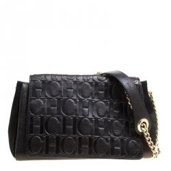 13533df2b6 Carolina Herrera Black Nubuck and Monogram Leather Shoulder Bag