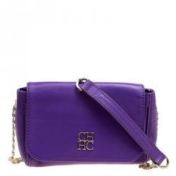 a76e3fe122 Carolina Herrera Purple Leather Shoulder Bag