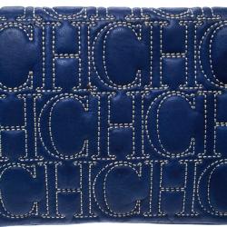 Carolina Herrera Blue Monogram Leather Jerry Clutch