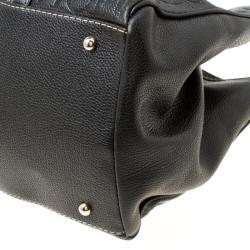 Carolina Herrera Black Monogram Leather Matteo Tote