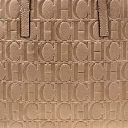 Carolina Herrera Beige Monogram Leather Shopper Tote