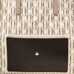 Carolina Herrera Beige/Off White Monogram Canvas and Leather Shopper Tote