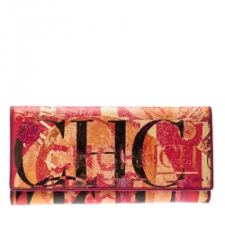 dd419655e9 Carolina Herrera Multicolor Painted Monogram Leather Trifold Wallet
