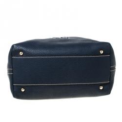 Carolina Hererra Navy Blue Pebbled Leather Hobo