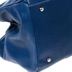 Carolina Herrera Blue Leather Large Matteo Tote