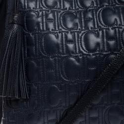 Carolina Herrera Navy Blue Monogram Leather Tote