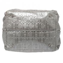 Carolina Herrera Metallic Silver Embossed Leather Bow Bucket Shoulder Bag