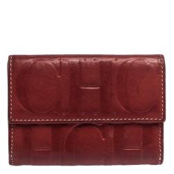 Carolina Herrera Red Monogram Leather Flap Compact Wallet
