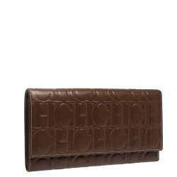 Carolina Herrera Brown Monogram Leather Continental Wallet