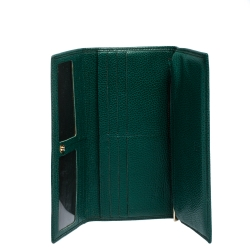 Carolina Herrera Green Leather Continental Flap Wallet