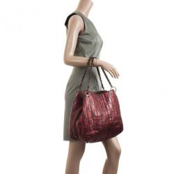 Carolina Herrera Burgundy CH Metallic Shoulder Bag