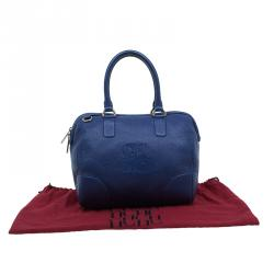 Carolina Herrera Blue Leather Boston Bag