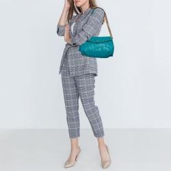 Carolina Herrera Turquoise Monogram Leather Flap Shoulder Bag