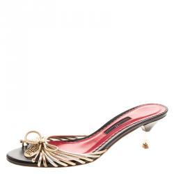 434da5f613e6f5 Carolina Herrera Metallic Gold and Silver Cord Leather Bow Slides Size 39
